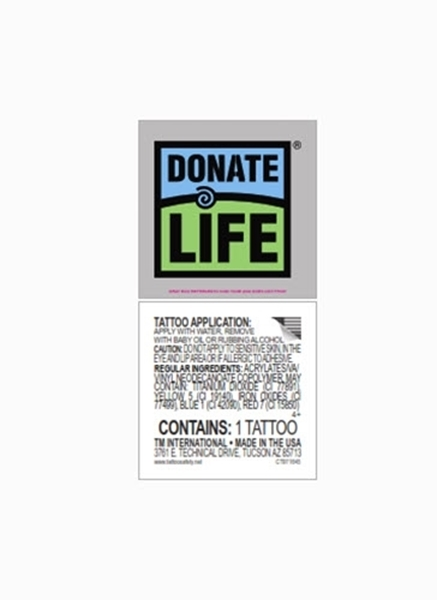 Picture of Donate Life Temporary Tattoo- 100/pk